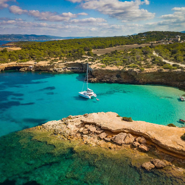 Catamaran Ibiza secret place
